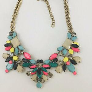 🔥JCrew Multicolor CrystalClusterGemstone Necklace